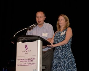 Carol Skinner and husband Travis presenting at Research Forum.