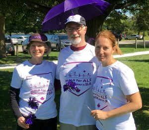 Alan and wife Celia (left) and daughter Robin (right) at 2017 Walk in Smiths Falls