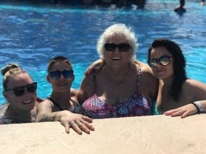 Yolande Cleroux with her 3 grandaughters in Jamaica
