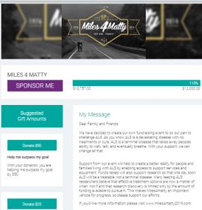 Miles 4 Matty Fundraising Example